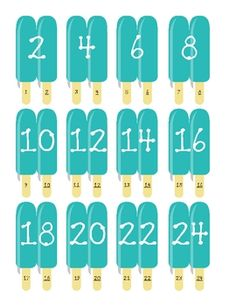Here's a set of popsicle counting cards and recording sheet for counting by 2s.