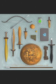 (from left to right): Hunters of Artemis Bow Arrow, Hazel's Spatha, Luke's Backbiter, Percy's Anaklusmos, Annabeth's Knife, Leo's Archimedes Sphere, Jason's Ivlivs, Jar of Greek Fire, Piper's Katoptris, Grover's Reed Pipes, Annabeth's Daedalus Laptop, Thalia's Aegis, Leo's Magical Tool Belt, Nico's Stygian Iron Sword, and Frank's Dragon Tooth Spear.