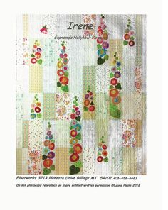 Irene Applique Quilt Pattern by Laura Heine for Fiberworks Applique Quilt Patterns, Hand Applique, Embroidery Applique, Coat Pattern Sewing, Sewing Patterns, Quilt Kits, Quilt Blocks, Laura Heine, Hollyhocks Flowers