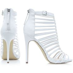 White Bridal Caged Strappy High Vamp Heels ($20) ❤ liked on Polyvore featuring shoes, sandals, bride sandals, white bridal sandals, high heels stilettos, metallic sandals and strappy stiletto sandals