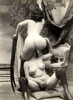 girlfriends give spunky studio show in the 1890s Source:retropornlover