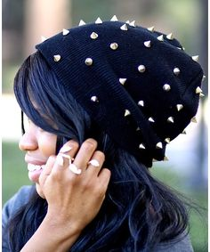 Studded Gold Spikes Fashion Beanie