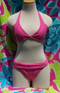 Pink halter top bikini, full coverage bottom in Brazilian Swimsuit Blowout!!