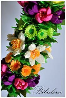 Palmy Wielkanocne na Stylowi.pl Floral Wreath, Easter, Wreaths, How To Make, Diy, Decor, Paper, Fiesta Party Favors, Palmas