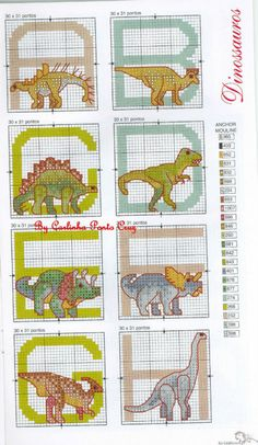 Dinosaur alphabet Cross Stitch Alphabet Patterns, Cross Stitch Letters, Cross Stitch For Kids, Cross Stitch Boards, Cross Stitch Animals, Cross Stitch Designs, Stitch Patterns, Cross Stitching, Cross Stitch Embroidery