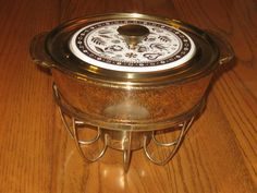 Vintage Georges Briard Fire King Glass Gold Chaffing Warming Casserole Lidded Dish Bowl