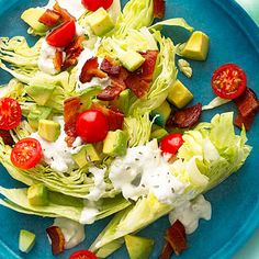Rosemary Bacon, Lettuce, and Tomato Salad    Salad is a BBQ side must, but why not make it more interesting with bacon and and a blue cheesey dressing?