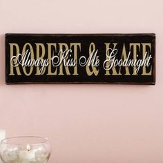 Personalized Always Kiss Me Goodnight Canvas Wall Décor, Black