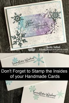 Do you think about decorating the indside of your handmade cards? Let me show you some cool ideas perfect to use this winter with snowflake stamps. Stamping the inside of your card really completes the look. Check it out at www.klompenstampers.com #handmadecards #decoratetheinsideofyourcards #cardmaking #cardmakingideas #cardmakingtutorials #jackiebolhuis #klompenstampers #stampinup #stampinupcards