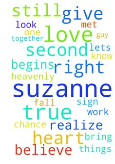 I still believe in my heart that Suzanne is my true - I still believe in my heart that Suzanne is my true love. Im praying that the guy she met is not right for her and that she begins to realize that and she begins to realize that Im the right one for her. I pray that she lets me know things did not work out with him and she gives me a second chance and a second look. Heavenly Father please give me a sign that Suzanne is my true love and that Im hers. Please bring Suzanne and myself…