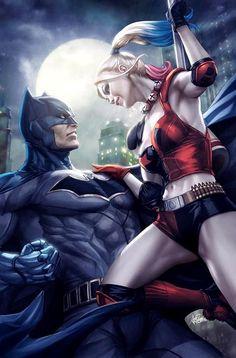 "longlivethebat-universe: ""Batman Rebirth variant cover with Harley Quinn by Stanley Lau "" Marvel Comics, Arte Dc Comics, Dc Comics Art, Comics Girls, Batman Vs, Superman, Batman Poster, Batman Cape, Batwoman"
