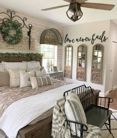 23 Farmhouse Bedroom Ideas in - ,Farmhouse living has a very unique feel. - 23 Farmhouse Bedroom Ideas in – ,Farmhouse living has a very unique feel. If you long for that fe - Farmhouse Style Bedrooms, Farmhouse Master Bedroom, Master Bathroom, Master Bedroom Makeover, Wall Decor Master Bedroom, Western Bedroom Decor, Relaxing Master Bedroom, Peaceful Bedroom, Romantic Bedroom Decor