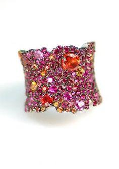 Lunar ruby and orange sapphire ring from Stefan Hafner