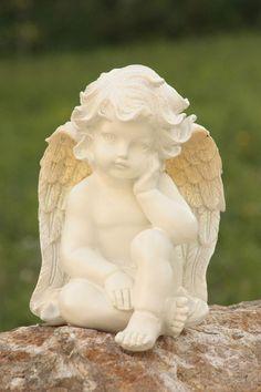 ANGE ASSIS SONGEUR CHERUBIN ANGELOT FIGURINE STATUE DETAILS SOIGNES 81658-2