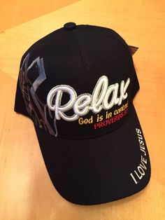 relax god is in control proverbs 35 christian black baseball cap in hats christian hatschristian postersposter ideasblack