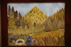 Original Pressed Flower Art  Mountains / Mixed Media / Oshibana / Landscape / Framed Art / Wall Decor / Real Flowers. $120.00, via Etsy.