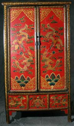 A1S0588 GREAT RED DRAGON CHINOISERIE CHINESE ARMOIRE CABINET