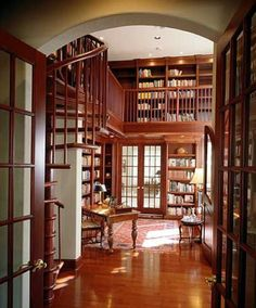 Home Library ~ 2-story with spiral staircase