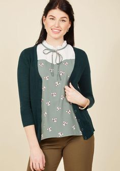 #AdoreWe #ModCloth ModCloth Charter School Cardigan in Peacock - AdoreWe.com