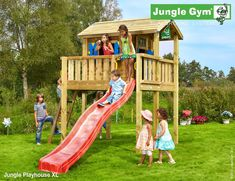 The original Jungle Gym wooden playground equipment. Most complete and safe climbing frames for kids. Wooden Playhouse With Slide, Childrens Playhouse, Playhouse Slide, Playhouse Ideas, Kids Climbing Frame, Wooden Climbing Frame, Playground Design, Backyard Playground, Rainbow Play Systems