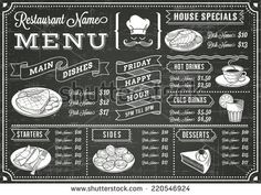 A full vector template Chalkboard menu for restaurant and snack bars with grunge elements - stock vector