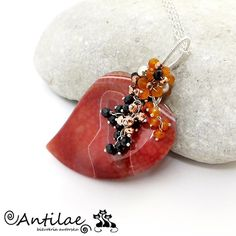 Sirds  Agate spinel carnelian silver necklace by Antilae on Etsy