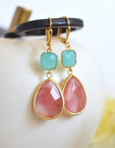 SALE  Grapefruit Pink and Turquoise Dangle Earrings by RusticGem