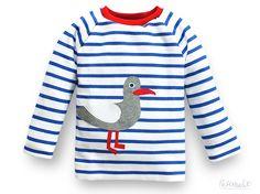 Ringelshirt blau weiß gestreift für Kinder mit Applikation Möwe, 100% Bio-Baumwolle von internaht auf Etsy https://www.etsy.com/de/listing/235815663/ringelshirt-blau-weiss-gestreift-fur