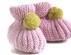 Baby girl booties pink with citrus green pompoms