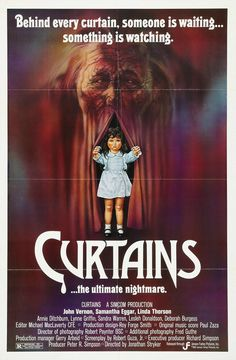 Curtains (Jensen Farley, One Sheet X Horror. Starring John Vernon, Samantha Eggar, - Available at Sunday Internet Movie Poster. Horror Movie Posters, Original Movie Posters, Movie Poster Art, Film Posters, Cinema Posters, Creepiest Horror Movies, Scary Movies, John Vernon, The Babadook