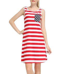 Look at this #zulilyfind! Red & White Stripe Sleeveless Dress #zulilyfinds
