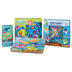 If your kids like Baby Shark, they will love the Pinkfong Baby Shark Mega Value Toys Box Set with Board Games and Puzzles! Toddlers or young kids will have a blast as they piece together puzzles, go hunting for fish or play the pop-up board game with friends or family.