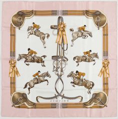 """Vintage Hermes 35"""" scarf """"Jumping"""" by Philippe Ledoux in pink, gray and brown, 1st issue 1971"""