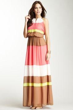 Colorblock Floor Length Dress