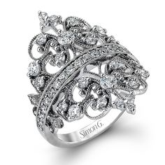 Duchess Collection - This ring is like a small crown for the finger with 18K white gold and 1.16ctw of white diamonds. - MR2389