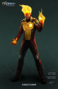 "Concept art of Firestorm from DC's ""Legends of Tomorrow"" by Andy Poon. Super Hero Outfits, Super Hero Costumes, Character Modeling, Comic Character, Character Design, Firestorm Dc, Deadpool Funny, Maya, Dc World"