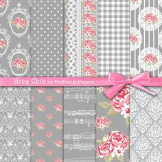 "Grey digital paper : ""Grey Chic"" shabby chic digital paper with pink roses on grey background, digital scrapbook paper, decoupage paper"