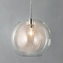 I love this light - you could team it up with a funky bulb. I think it would nicely fit with all the glass in the room from the windows and the coffee table. John Lewis Gloria Ceiling Light.