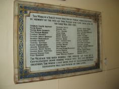 The WW1 memorial plaque at St Edward's church, Kingstone, Barnsley