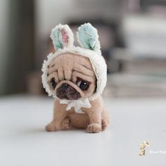 made to order 10 days,needle felted cm the pug dog/to the top of the bunny hat is 10 cm is tall. Baby Animals Super Cute, Cute Baby Dogs, Baby Pugs, Cute Stuffed Animals, Cute Little Animals, Cute Funny Animals, Baby Animals Pictures, Cute Animal Pictures, Funny Pug Pictures