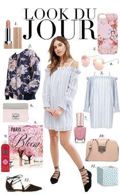 Look Du Jour: Blütezeit! White and blue cold shoulder dress+black lace-up flats+navy floral bomber jacket+blush chain shulder bag+sunglasses. Spring Dressy Casual Outfit 2017