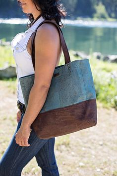 #corkcouture  Beautiful blue and brown tote by Cork Couture  www.corkcouture.ca