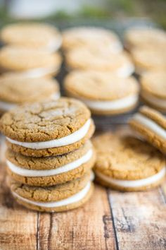 Ginger Molasses Sandwich Cookies with Eggnog Buttercream