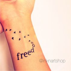 2pcs FREEDOM with flying birds tattoo InknArt Temporary Tattoo hand... ($6.15) ❤ liked on Polyvore featuring accessories, body art, tattoos and tatoos