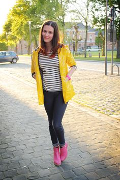 raincoat, stripes, pink boots