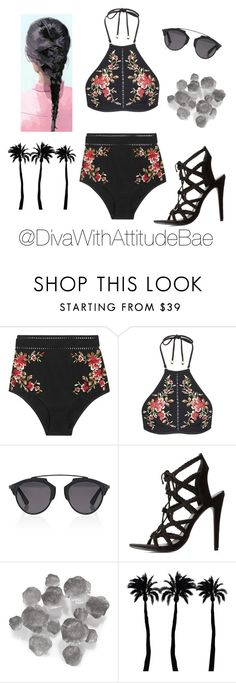 """""""•EN MODE BEACH"""" by divawithattitudebae ❤ liked on Polyvore featuring Zimmermann, Christian Dior, Charlotte Russe, Palecek and Dot & Bo"""