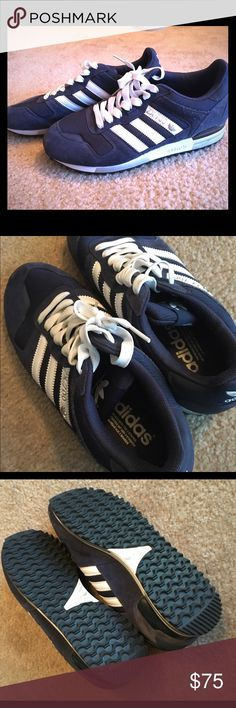 """ZX 700 NAVY / WHITE ADIDAS SZ. 8.5/10 Have had these for 10+ years, I feel like in sneaker world that makes them """"vintage."""" Only worn 2-3 times - I didn't want to get them dirty so I always ended up wearing other pairs. And now here they are and haven't worn them in years. Size 8.5 women's / 10 mens, navy with white stripes and accents. Adidas Shoes Sneakers"""
