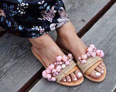 "Boho Sandals ""Marshmallow"", Beaded sandals, Leather sandals, Greek sandals, Embellished sandals, handmade sandals, luxurious sandals"