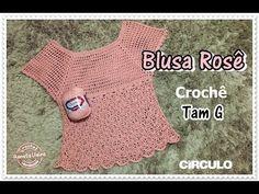 Blusa Rosê em crochê - Renata Vieira - YouTube Crochet Coat, Crochet Cardigan, Crochet Clothes, Crochet Baby, Crochet Sandals, Crochet Bikini, Crochet Designs, Crochet Patterns, Crochet Summer Tops