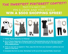 The Sweetest Pinterest Contest! Pin your favourite Baby Shower Look for a chance to win a $500 Thyme Maternity shopping spree. Shower Bebe, Baby Shower, 7 Avril, Shopping Spree, Baby Love, Maternity, Style, Fashion, Pageants